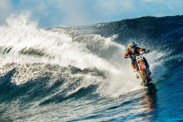 dirt bike riding waves