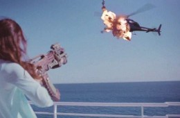 Woman exploding helicopter