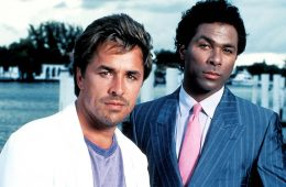 "MIAMI VICE -- Sleuth Series -- Pictured: (l-r) Don Johnson as Det. John ""Sonny"" Crockett, Philip Michael Thomas as Det. Ricardo Tubbs -- Sleuth Photo"