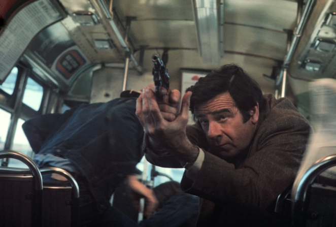 Walter Matthau with a gun