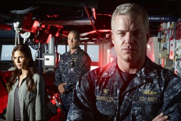 THE LAST SHIP – Season 1 – Pictured (L-R): Rhona Mitra as Dr. Rachel Scott, Adam Baldwin as Mike Slattery, and Eric Dane as Captain Tom Chandler – Photo Credit: © 2014 Michael Muller/TNT.