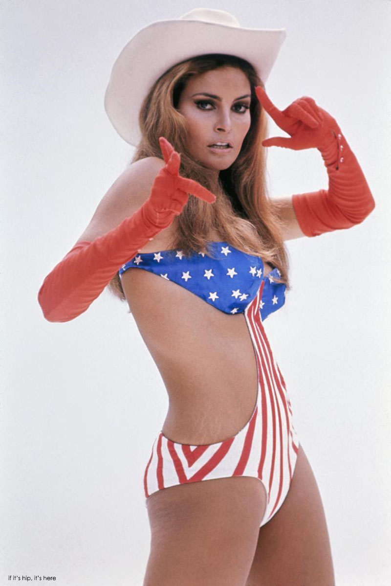 Raquel-Welch-wearing-flag-bathing-suit-cowboy-IIHIH