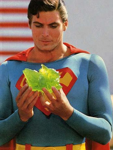Superman Christopher Reeve holds a piece of Kryptonite in the Movie Superman.